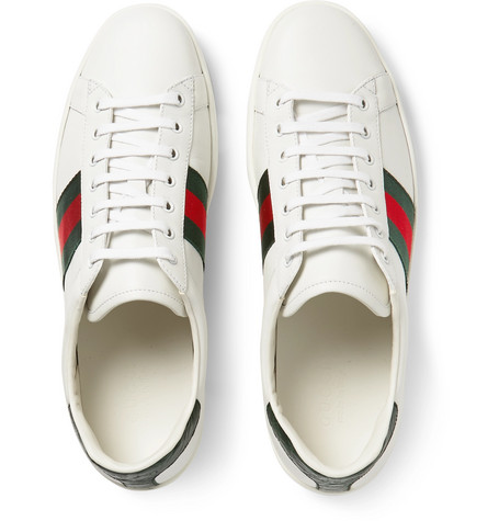 Gucci Sneakers Ace Crocodile-Trimmed Leather Sneakers