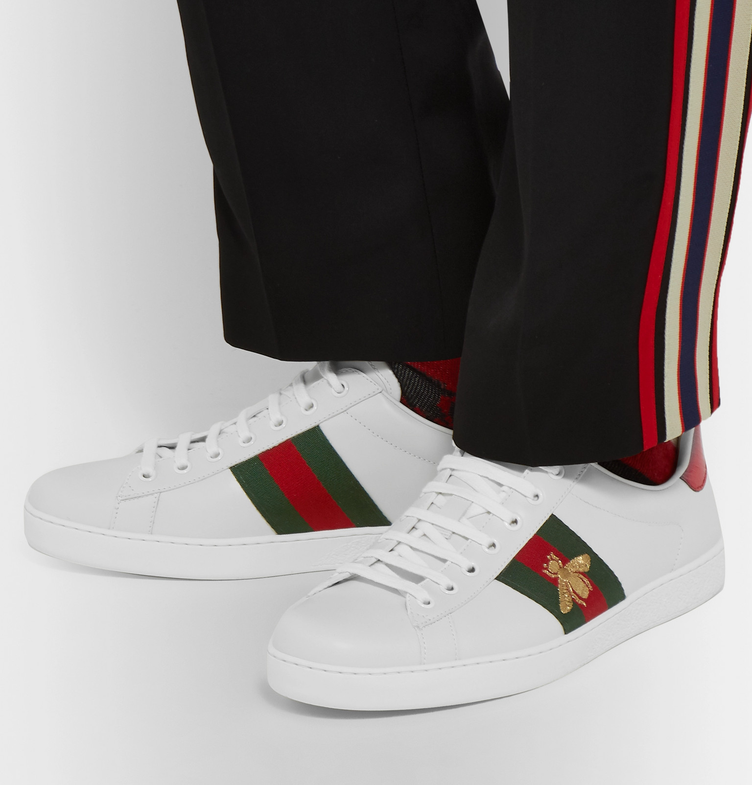 42ddcbbb5e7 Gucci - Ace Watersnake-Trimmed Embroidered Leather Sneakers