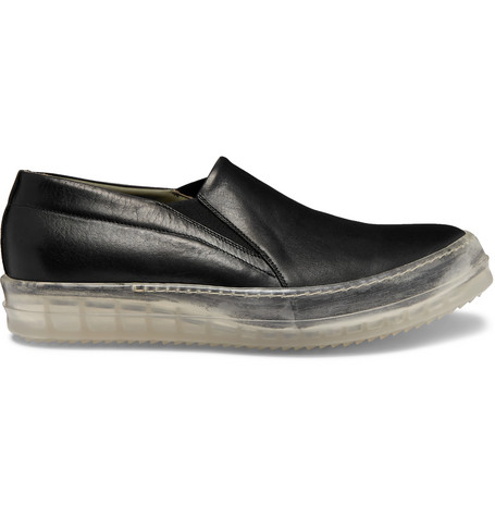 Leather Slip On Sneakers by Rick Owens