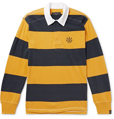 rag & bone Logo-Embroidered Twill-Trimmed Striped Cotton-Jersey Polo Shirt