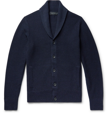 RAG & BONE | Rag & bone - Cardiff Shawl-collar Merino Wool And Cotton-blend Cardigan - Navy | Goxip
