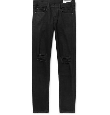 RAG & BONE | Rag & bone - Fit 1 Skinny-fit Distressed Stretch-denim Jeans - Black | Goxip