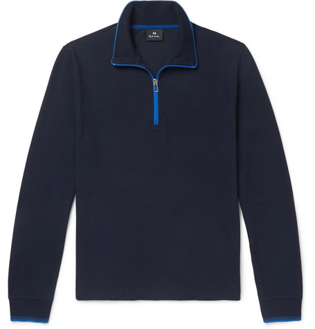 PS BY PAUL SMITH | PS by Paul Smith - Contrast-tipped Cotton-piqué Half-zip Sweatshirt - Navy | Goxip
