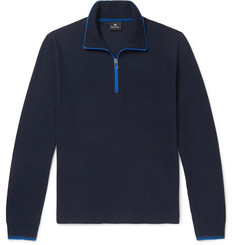 PS by Paul Smith Contrast-Tipped Cotton-Piqué Half-Zip Sweatshirt