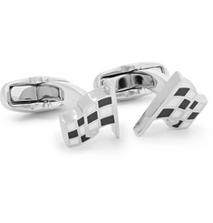 Paul Smith - Checked Flag Enamelled Silver-Tone Cufflinks