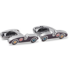 Sports Car Silver-tone And Enamel Cufflinks - Silver
