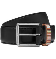4cm Black Stripe-trimmed Leather Belt - Black