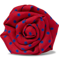 Charvet - Pin-Dot Silk-Faille Flower Lapel Pin