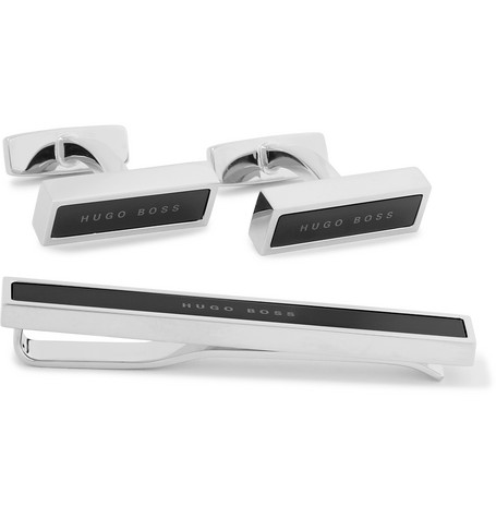 Silver-tone And Enamel Cufflinks And Tie Clip Set