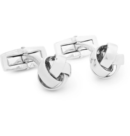 Knotted Silver Tone Cufflinks by Hugo Boss