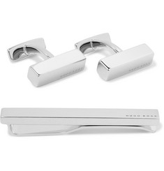 Hugo Boss Silver-Tone Cufflinks and Tie Clip Set