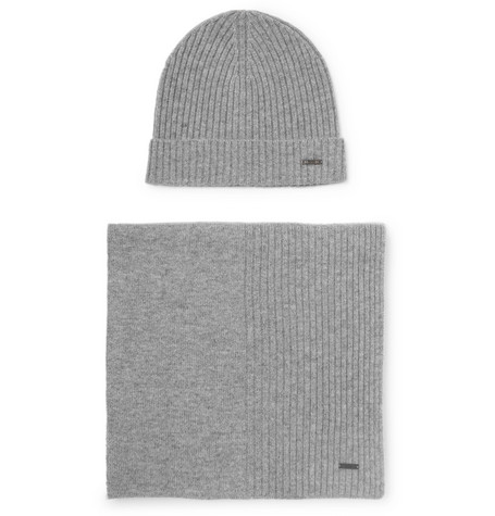 Hugo Boss – Ribbed Cashmere Beanie And Scarf Set – Gray