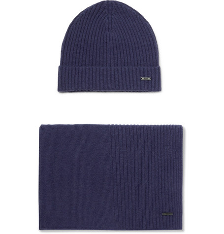 Ribbed Cashmere Beanie And Scarf Set