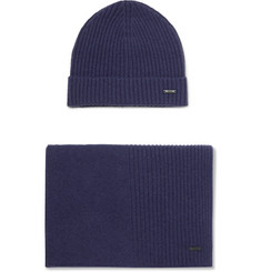 Hugo Boss Ribbed Cashmere Beanie and Scarf Set