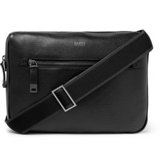 Hugo Boss Cross-Grain Leather Messenger Bag