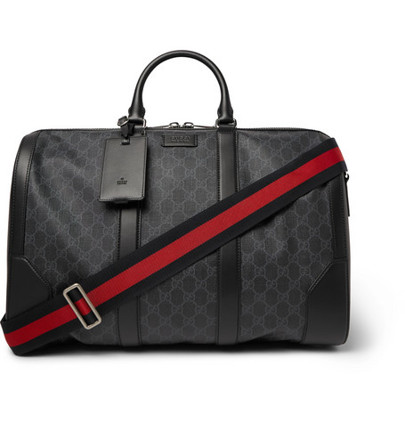 Gucci – Leather-trimmed Monogrammed Coated-canvas Holdall – Black