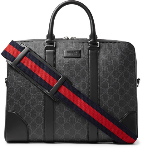 Leather Trimmed Monogrammed Coated Canvas Briefcase by Gucci