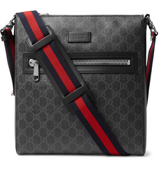 Gucci Leather-Trimmed Monogrammed Coated-Canvas Messenger Bag