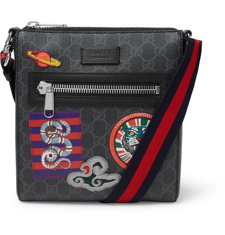 Gucci – Night Courrier Leather-trimmed Appliquéd Monogrammed Coated-canvas Messenger Bag – Black