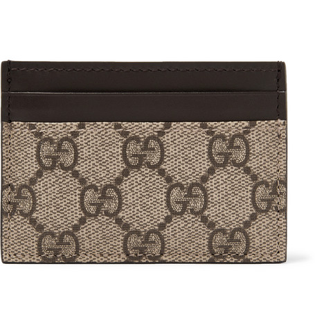 Leather And Monogrammed Coated Canvas Cardholder by Gucci