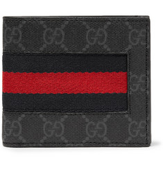 Gucci - Webbing-Trimmed Monogrammed Coated-Canvas Billfold Wallet