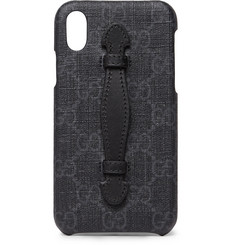 Gucci - Leather-Trimmed Monogrammed Coated-Canvas iPhone X Case