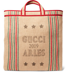 Gucci - Grosgrain-Trimmed Printed Hessian Tote Bag