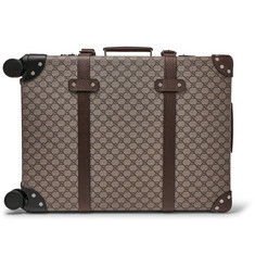 Gucci + Globe-Trotter Leather-Trimmed Monogrammed Coated-Canvas Carry-On Suitcase
