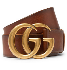 Gucci 4cm Tan Burnished-Leather Belt