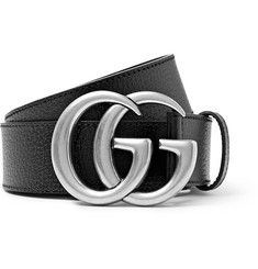 4cm Black Full-grain Leather Belt - Black
