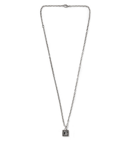 Engraved Burnished Sterling Silver Pendant Necklace by Gucci