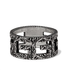 Gucci - Engraved Burnished Sterling Silver Ring
