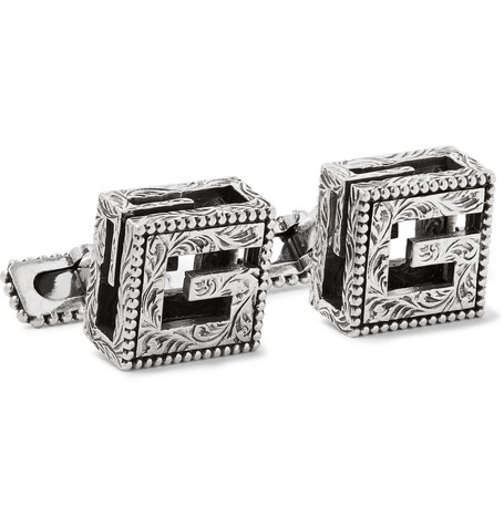 Gucci – Engraved Burnished Sterling Silver Cufflinks – Silver