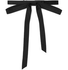 Pre-tied Silk-grosgrain Bow Tie - Black