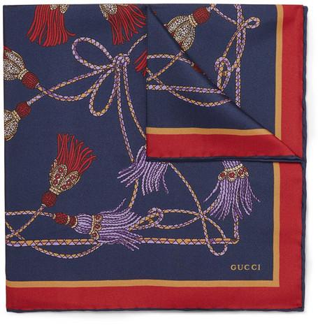 2d19e4001ddd11 Gucci - Printed Silk-Twill Pocket Square