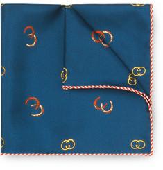 Printed Silk-twill Pocket Square - Navy