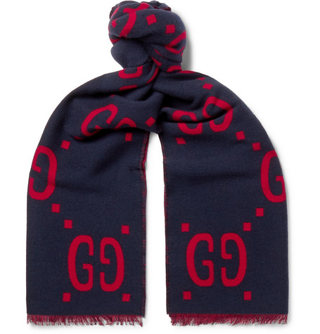 Gucci – Fringed Logo-jacquard Brushed Wool And Silk-blend Scarf – Navy