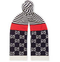 Gucci - Logo-Intarsia Striped Cotton Scarf