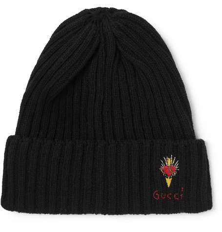 Gucci – Logo-embroidered Ribbed Wool Beanie – Black