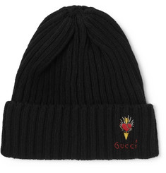 Gucci Logo-Embroidered Ribbed Wool Beanie