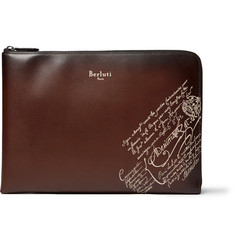 Berluti Scritto Leather Zip-Around Pouch