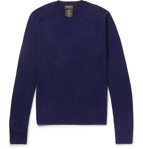 BERLUTI | Berluti - Cotton And Mulberry Silk-blend Sweater - Navy | Goxip