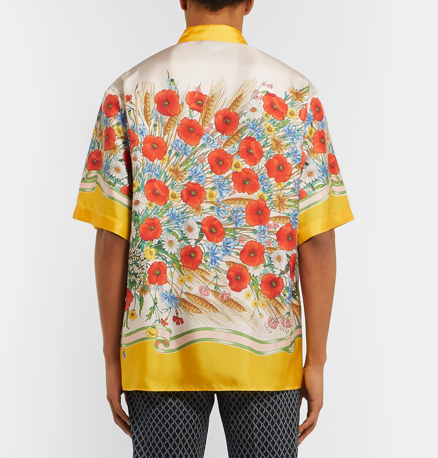 01cd8226 Gucci - Button-Down Collar Embroidered and Printed Silk-Satin Shirt
