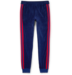 Gucci Slim-Fit Striped Cotton-Blend Velour Sweatpants