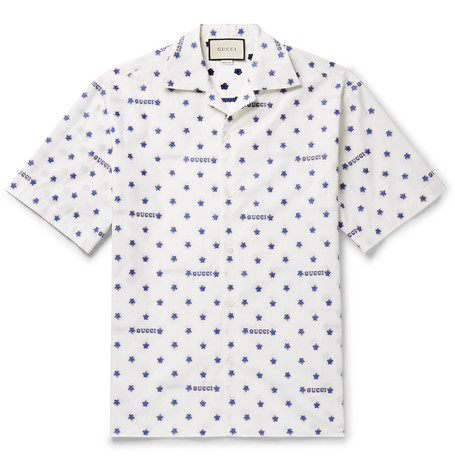 2a0f0f6b5 Gucci - Camp-Collar Fil Coupé Cotton-Poplin Shirt