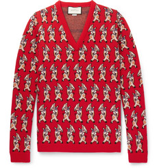 Gucci Dancing Pig-Intarsia Wool Sweater
