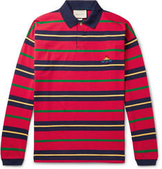 Gucci Appliquéd Striped Cotton-Jersey Polo Shirt