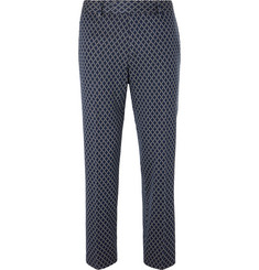 Gucci Navy Caspian Cropped Logo-Jacquard Cotton Trousers