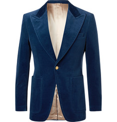 Gucci Blue Slim-Fit Cotton-Blend Velvet Blazer