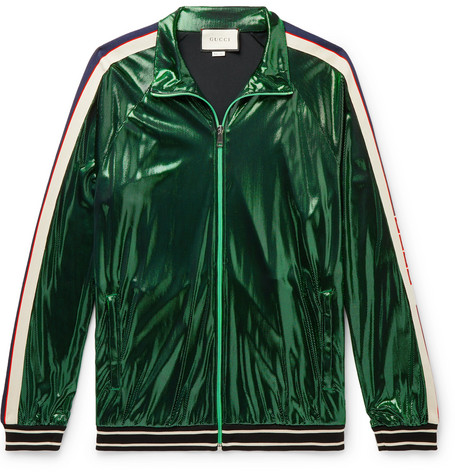 Webbing Trimmed Coated Jersey Track Jacket by Gucci
